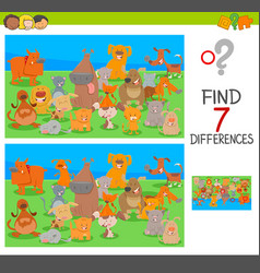 differences game with dog and cat characters vector image