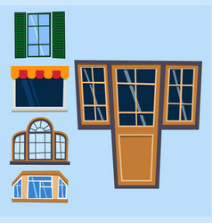 Different types house windows elements flat style vector