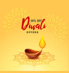 Diwali diya lamp festival greeting background vector