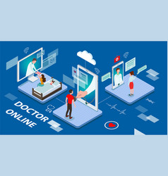 doctor online concept with sick patients being vector image