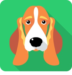Dog Basset Hound icon flat design vector