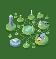 Eco friendly technologies isometric vector