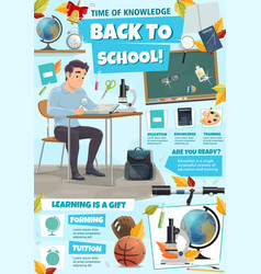 Education tips poster with student class supplies vector