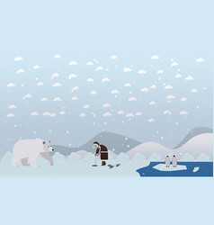 Eskimo and polar bear vector