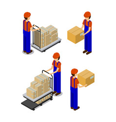 Factory and workers with boxes vector