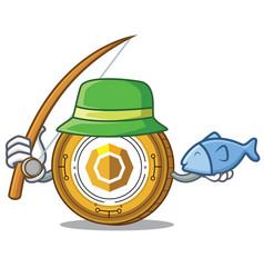 Fishing komodo coin mascot cartoon vector