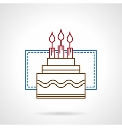 Flat color line birthday cake icon vector image