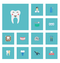 flat icons furniture gingivitis artificial teeth vector image