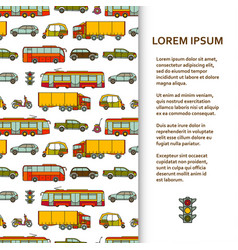 Flat poster or banner template with cars and city vector