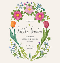 floral wreath wedding invitation card vector image