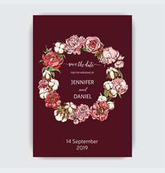 flowers invitation hand drawn sketch wedding vector image