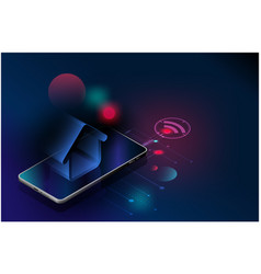 Futuristic smart home technology controlling vector