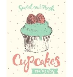 Hand draw dessert cupcake cake vector image