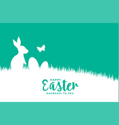 happy easter flat style card with rabbit on grass vector image