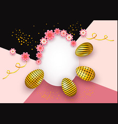 Happy easter invitation card background with vector