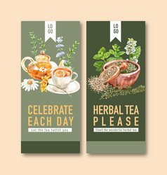 Herbal tea flyer design with thyme rosemary vector
