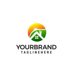 home and sun logo design concept template vector image