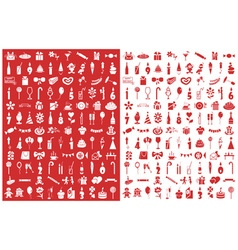icons birthday on red and white vector image