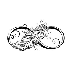 Infinity symbol with feather vector