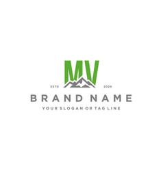 Letter m mountain logo design vector