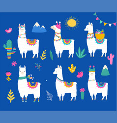 Llama collection cute hand drawn vector