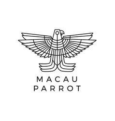 macaw parrot monoline logo icon vector image