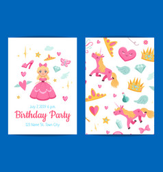 Magic and fairytale birthday party vector
