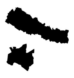 Map nepal and kathmandu country and capital vector