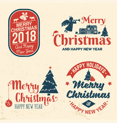 merry christmas and happy new year 2018 retro vector image