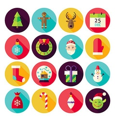 Merry Christmas New Year Circle Icons Set with vector image