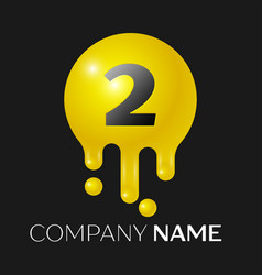 number two splash logo yellow dots and bubbles vector image