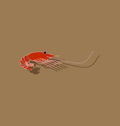 paper sticker on background of shrimp vector image