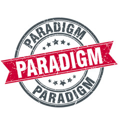 Paradigm round grunge ribbon stamp vector