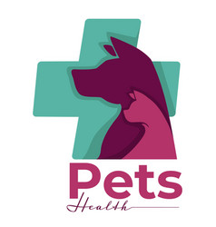 Pets health isolated icon dog and cat vet clinic vector