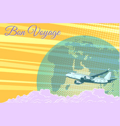 plane flight travel tourism retro background bon vector image