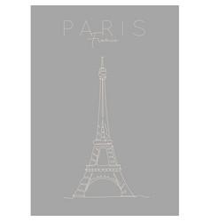 poster paris eiffel tower grey vector image