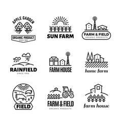 Retro farm and organic products emblems and vector