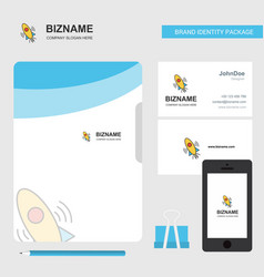 rocket business logo file cover visiting card and vector image