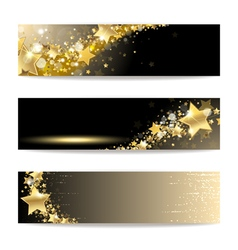 set banners with gold stars vector image