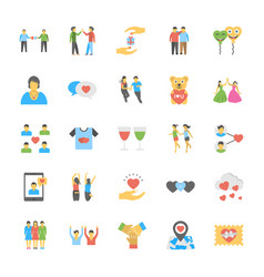 Set of friendship flat icons vector