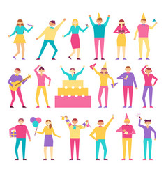 set of people having fun on birthday party vector image