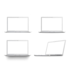 set white laptop mockups vector image