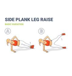 Side plank leg raise female home workout high vector