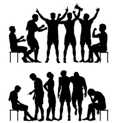 Sport winners and losers silhouettes vector