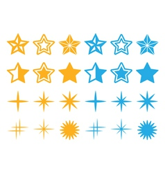 Stars yellow and blue stars icons set vector image