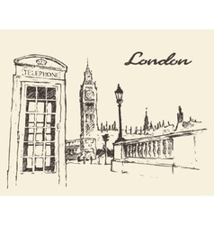 Streets in London England Bus Big Ben drawn vector