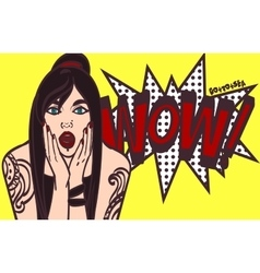 subculture pop art surprised woman face vector image vector image