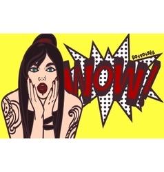 Subculture pop art surprised woman face vector