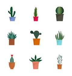 Succulent cactus plant icon set flat style vector