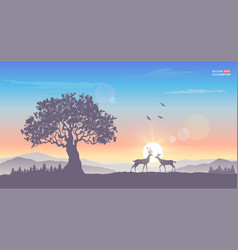 Sunrise tree deer vector